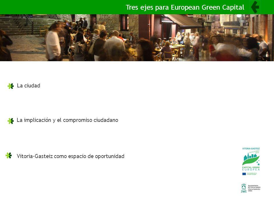 La ciudad La implicación y el compromiso ciudadano Vitoria-Gasteiz como espacio de oportunidad Tres ejes para European Green Capital