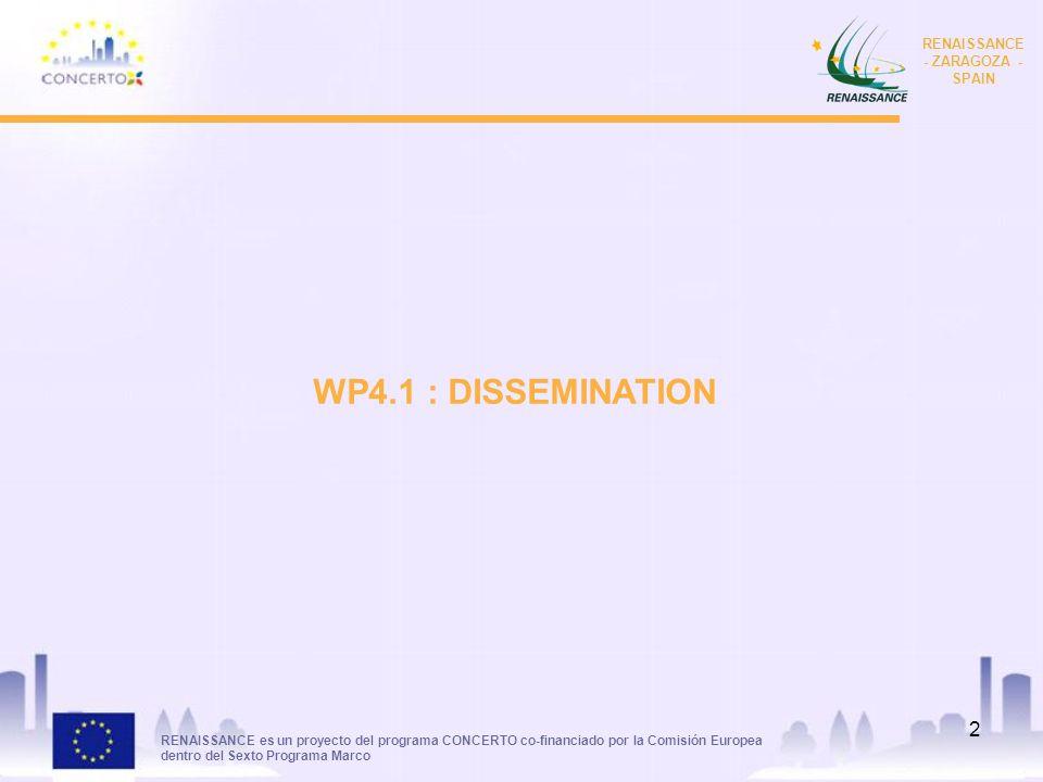 RENAISSANCE es un proyecto del programa CONCERTO co-financiado por la Comisión Europea dentro del Sexto Programa Marco RENAISSANCE - ZARAGOZA - SPAIN 2 WP4.1 : DISSEMINATION