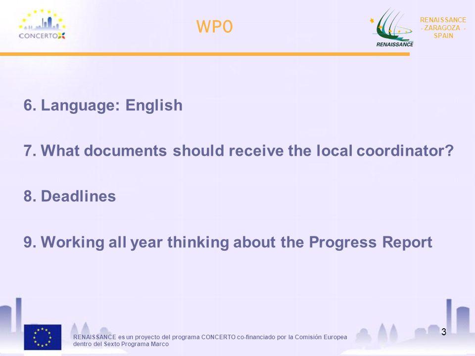 RENAISSANCE es un proyecto del programa CONCERTO co-financiado por la Comisión Europea dentro del Sexto Programa Marco RENAISSANCE - ZARAGOZA - SPAIN 3 WP0 6.