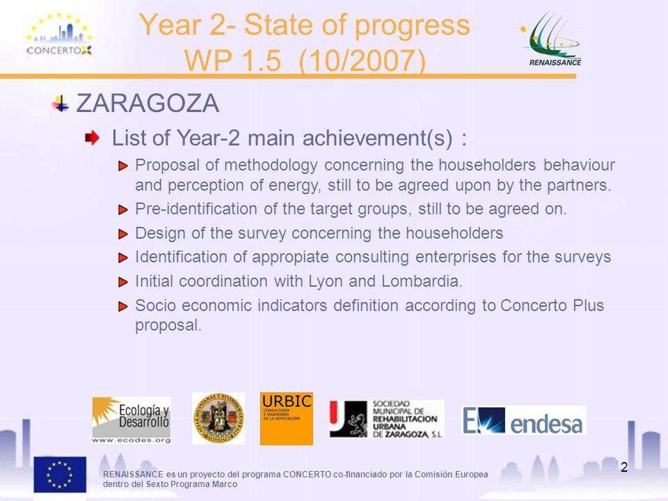 RENAISSANCE es un proyecto del programa CONCERTO co-financiado por la Comisión Europea dentro del Sexto Programa Marco 2 Year 2- State of progress WP