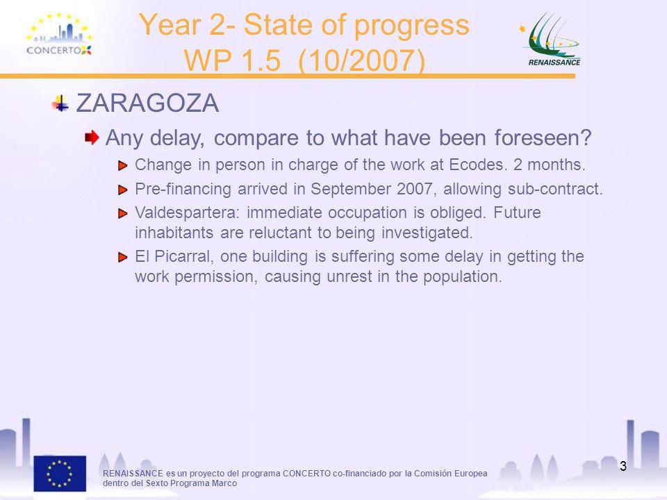 RENAISSANCE es un proyecto del programa CONCERTO co-financiado por la Comisión Europea dentro del Sexto Programa Marco 3 Year 2- State of progress WP