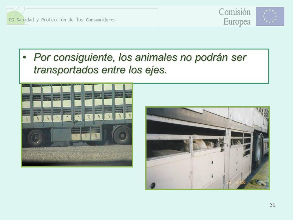 20 Por consiguiente, los animales no podrán ser transportados entre los ejes.Por consiguiente, los animales no podrán ser transportados entre los ejes