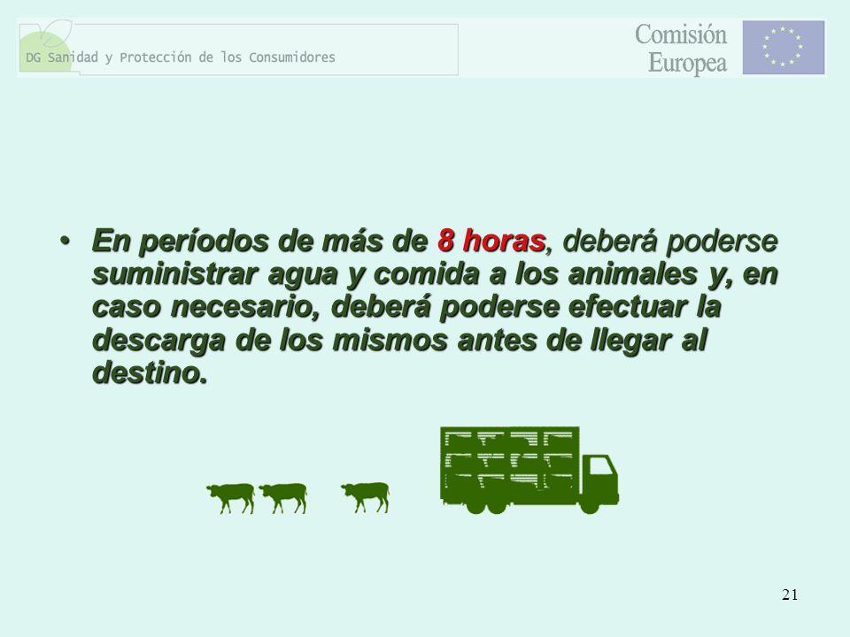 21 En períodos de más de 8 horas, deberá poderse suministrar agua y comida a los animales y, en caso necesario, deberá poderse efectuar la descarga de