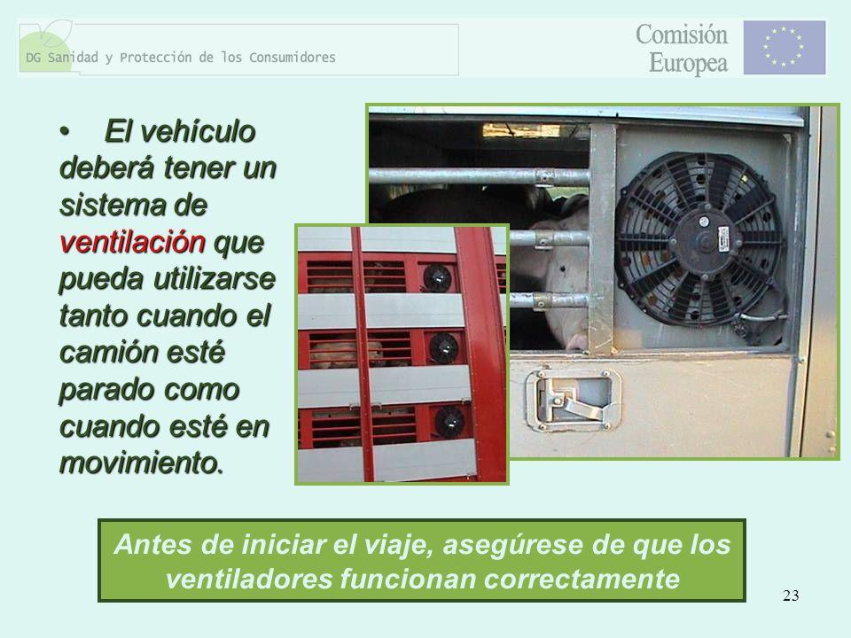 23 El vehículo deberá tener un sistema de ventilación que pueda utilizarse tanto cuando el camión esté parado como cuando esté en movimiento. El vehíc
