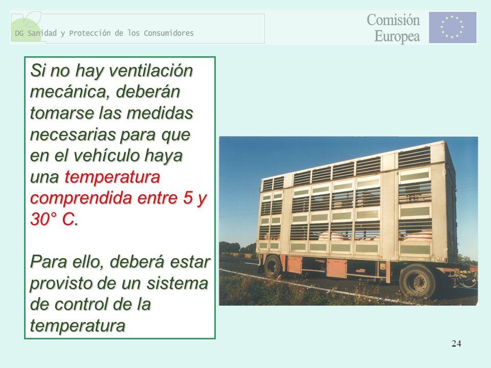 24 Si no hay ventilación mecánica, deberán tomarse las medidas necesarias para que en el vehículo haya una temperatura comprendida entre 5 y 30° C. Pa
