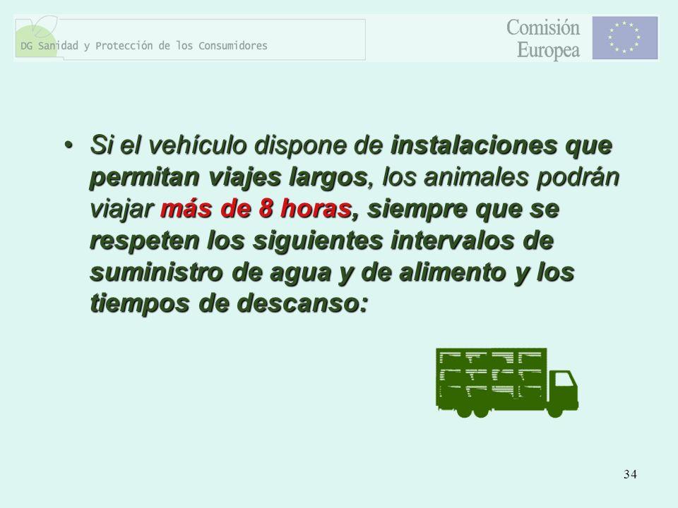 34 Si el vehículo dispone de instalaciones que permitan viajes largos, los animales podrán viajar más de 8 horas, siempre que se respeten los siguient
