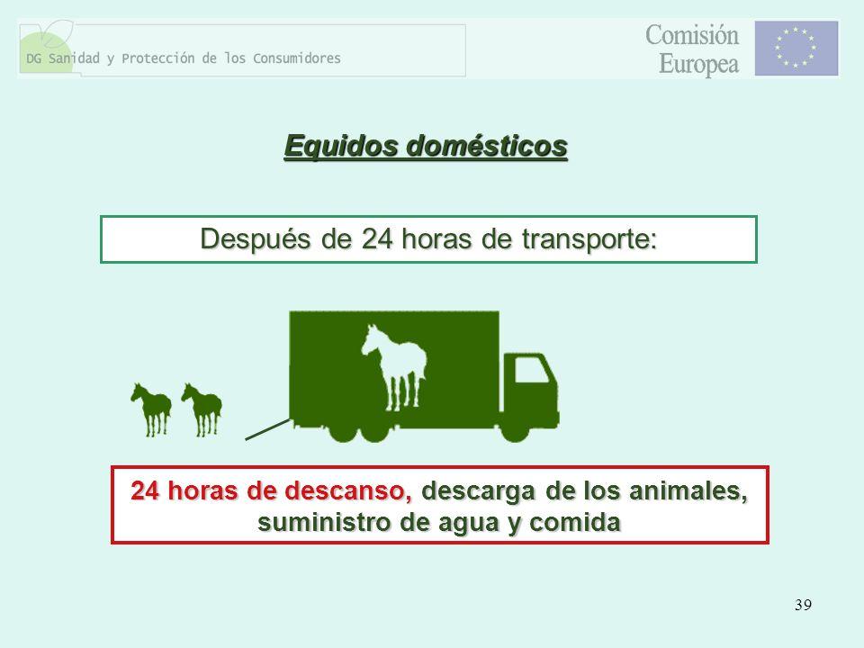 39 Equidos domésticos Después de 24 horas de transporte: 24 horas de descanso, descarga de los animales, suministro de agua y comida