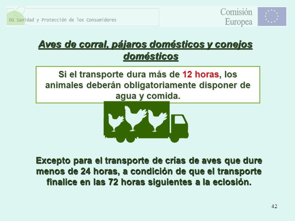 42 Aves de corral, pájaros domésticos y conejos domésticos Si el transporte dura más de 12 horas, los animales deberán obligatoriamente disponer de ag