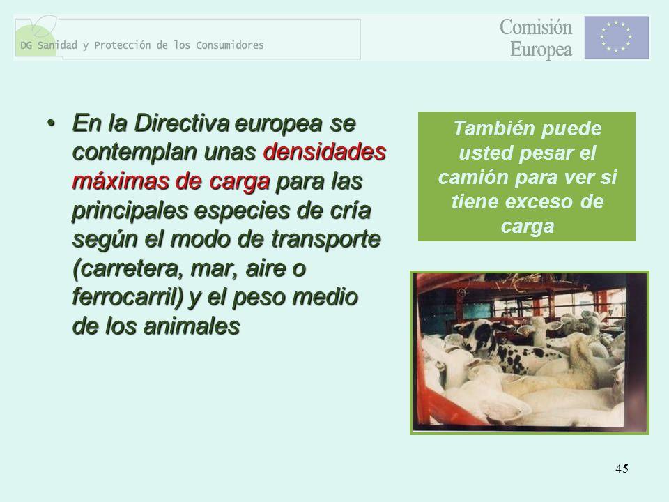 45 En la Directiva europea se contemplan unas densidades máximas de carga para las principales especies de cría según el modo de transporte (carretera