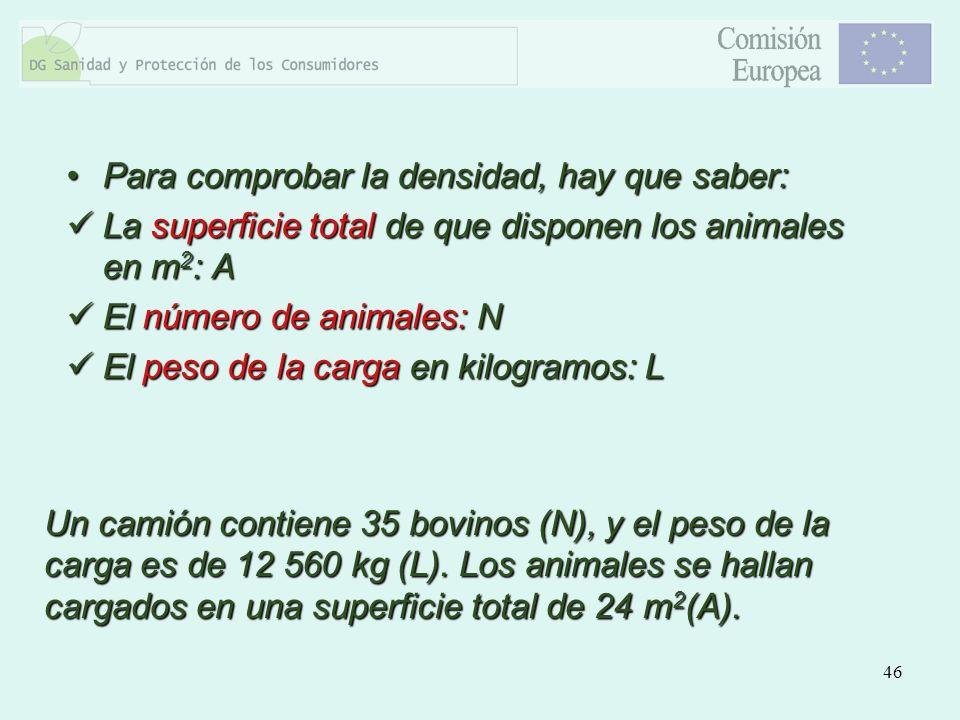 46 Para comprobar la densidad, hay que saber:Para comprobar la densidad, hay que saber: La superficie total de que disponen los animales en m 2 : A La