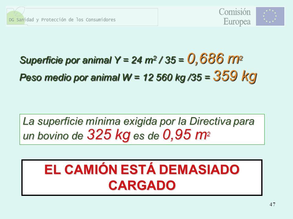 47 EL CAMIÓN ESTÁ DEMASIADO CARGADO La superficie mínima exigida por la Directiva para un bovino de 325 kg es de 0,95 m 2 Superficie por animal Y = 24
