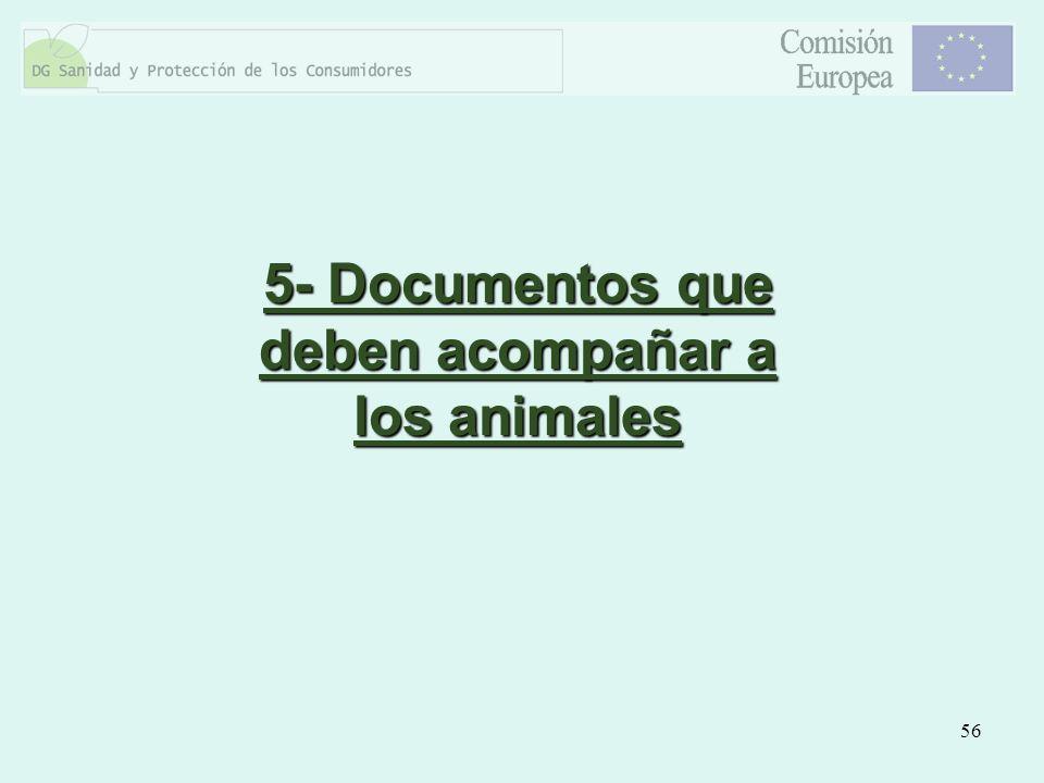 56 5- Documentos que deben acompañar a los animales