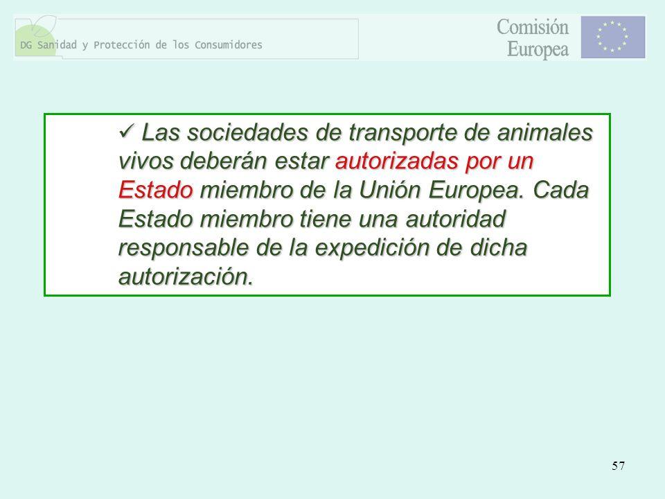 57 Las sociedades de transporte de animales vivos deberán estar autorizadas por un Estado miembro de la Unión Europea. Cada Estado miembro tiene una a
