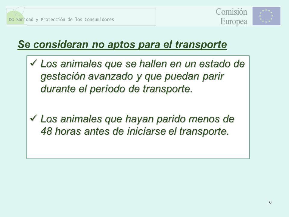 9 Los animales que se hallen en un estado de gestación avanzado y que puedan parir durante el período de transporte. Los animales que se hallen en un