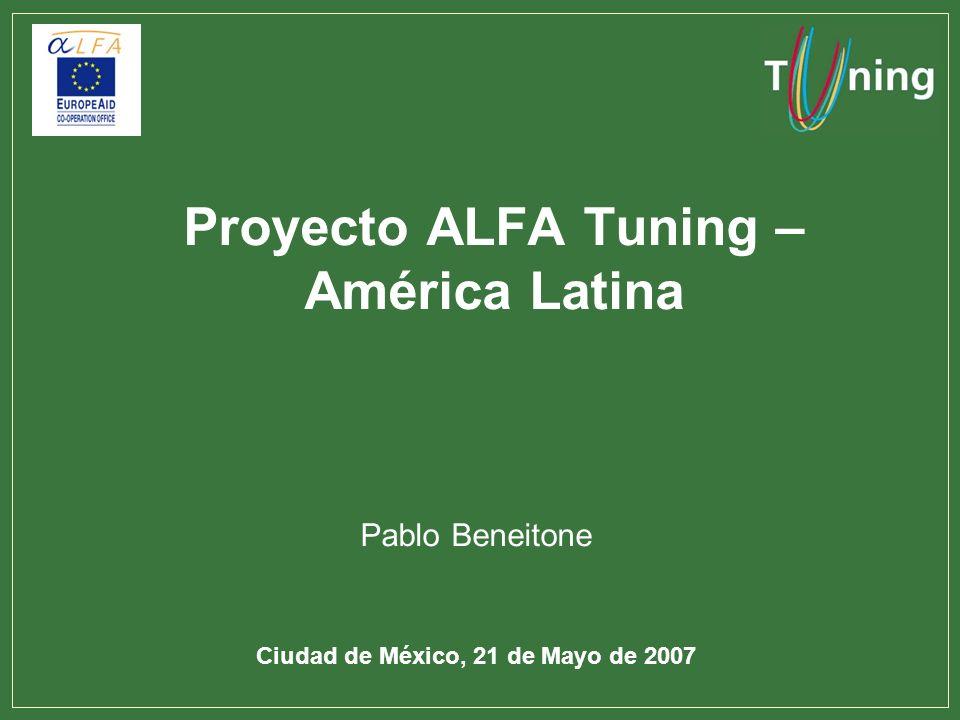 Proyecto ALFA Tuning – América Latina Pablo Beneitone Ciudad de México, 21 de Mayo de 2007