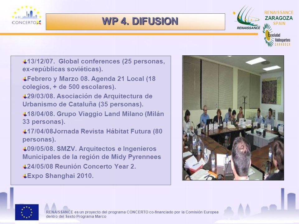 RENAISSANCE es un proyecto del programa CONCERTO co-financiado por la Comisión Europea dentro del Sexto Programa Marco RENAISSANCE ZARAGOZA SPAIN 13/12/07.