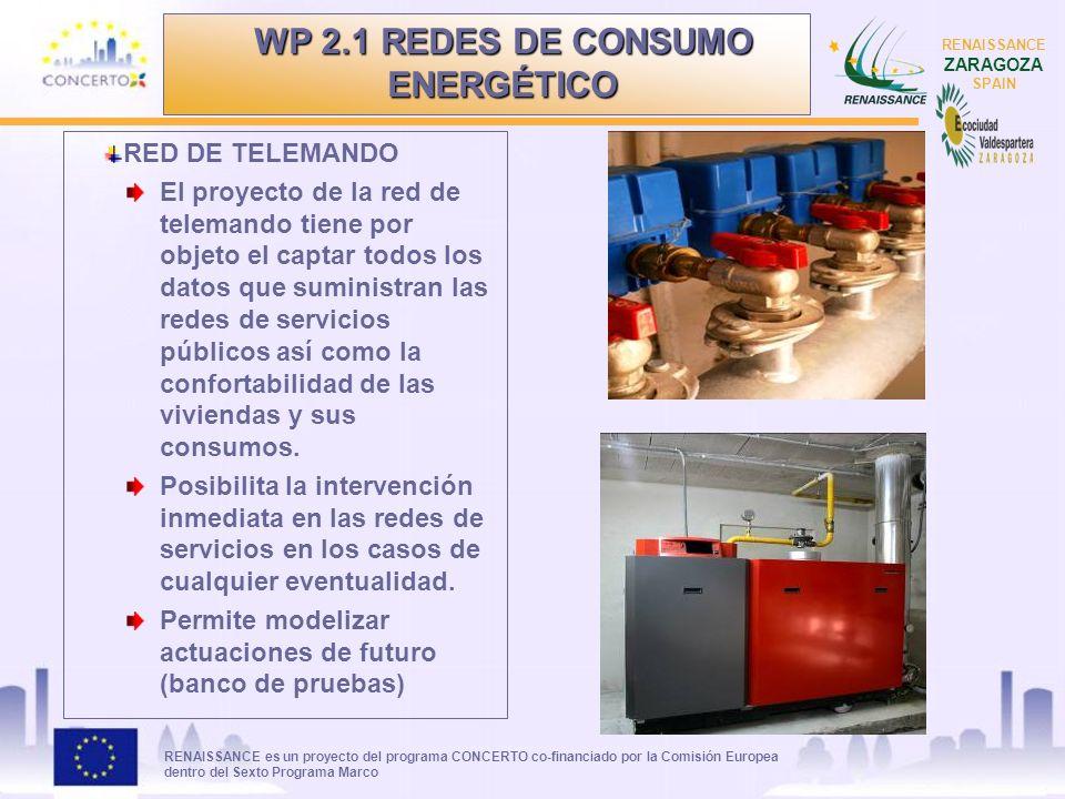RENAISSANCE es un proyecto del programa CONCERTO co-financiado por la Comisión Europea dentro del Sexto Programa Marco RENAISSANCE ZARAGOZA SPAIN REDES CONTROLADAS Red de Abastecimiento (calidad del agua, cloración, niveles, consumos, automatismos…) Red de Riego (control de bombas, control de filtros, niveles, consumos, intrusismos, automatismos de riego, control de pérdidas o roturas, control de humedad del suelo y de pluviometría, etc…) Saneamiento (caudal vertido por cuenca, control del funcionamiento de las bombas, etc…) Alumbrado Residuos sólidos urbanos Lectura de contadores de agua domiciliarios Red de eficiencia energética WP 2.1 REDES DE CONSUMO ENERGÉTICO
