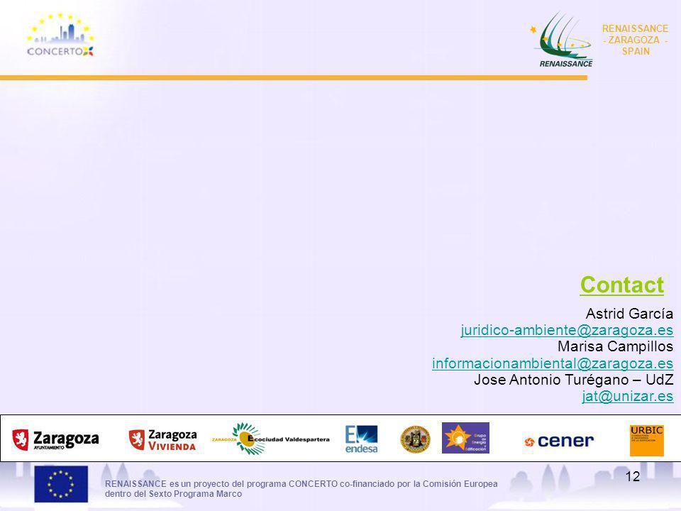 RENAISSANCE es un proyecto del programa CONCERTO co-financiado por la Comisión Europea dentro del Sexto Programa Marco RENAISSANCE - ZARAGOZA - SPAIN 12 Astrid García juridico-ambiente@zaragoza.es Marisa Campillos informacionambiental@zaragoza.es Jose Antonio Turégano – UdZ jat@unizar.es Contact