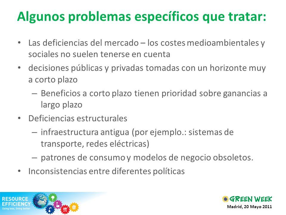 Algunos problemas específicos que tratar: Las deficiencias del mercado – los costes medioambientales y sociales no suelen tenerse en cuenta decisiones