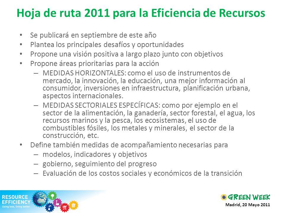 Hoja de ruta 2011 para la Eficiencia de Recursos Se publicará en septiembre de este año Plantea los principales desafíos y oportunidades Propone una v