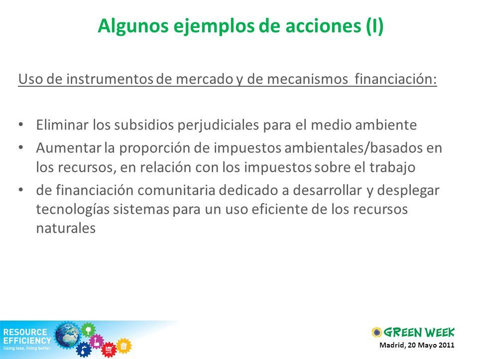 Algunos ejemplos de acciones (I) Uso de instrumentos de mercado y de mecanismos financiación: Eliminar los subsidios perjudiciales para el medio ambie