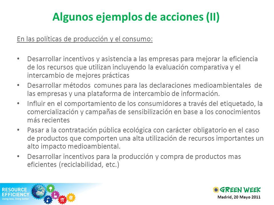 Algunos ejemplos de acciones (II) En las políticas de producción y el consumo: Desarrollar incentivos y asistencia a las empresas para mejorar la efic
