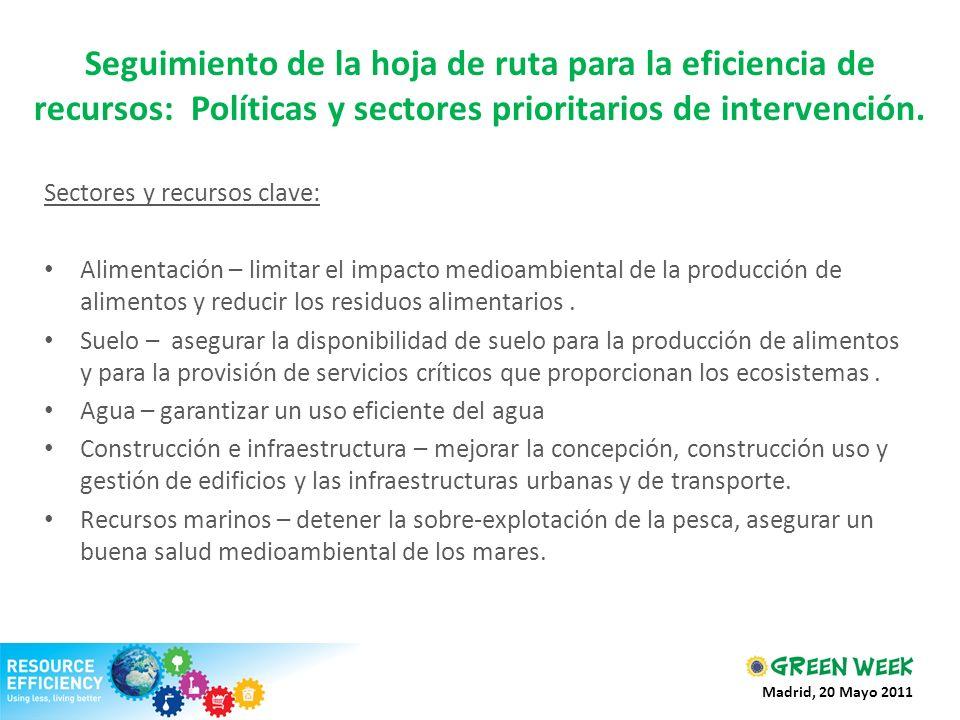 Seguimiento de la hoja de ruta para la eficiencia de recursos: Políticas y sectores prioritarios de intervención. Sectores y recursos clave: Alimentac