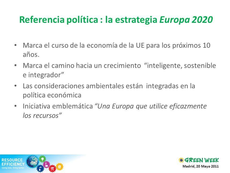 Referencia política : la estrategia Europa 2020 Marca el curso de la economía de la UE para los próximos 10 años. Marca el camino hacia un crecimiento