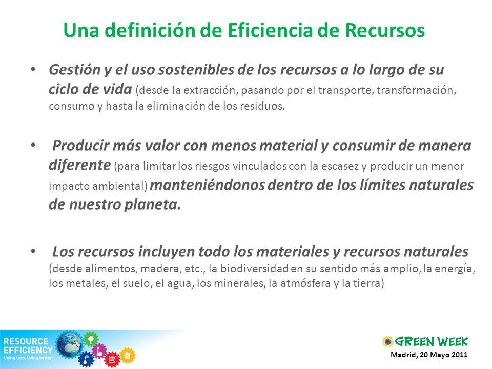 Una definición de Eficiencia de Recursos Gestión y el uso sostenibles de los recursos a lo largo de su ciclo de vida (desde la extracción, pasando por