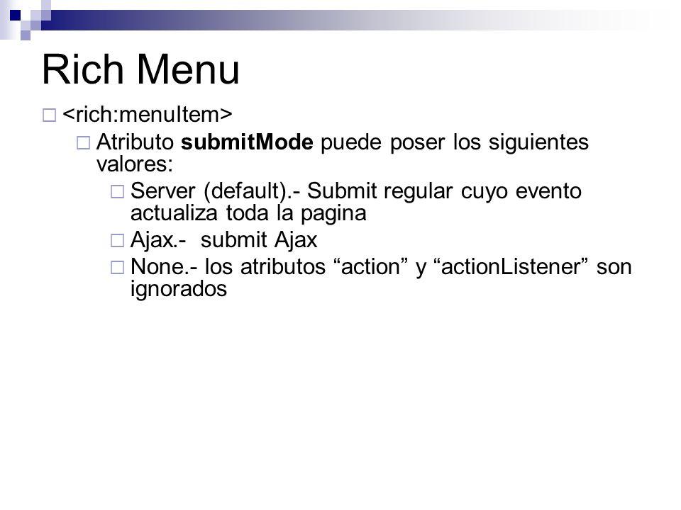 Rich Menu Atributo submitMode puede poser los siguientes valores: Server (default).- Submit regular cuyo evento actualiza toda la pagina Ajax.- submit Ajax None.- los atributos action y actionListener son ignorados