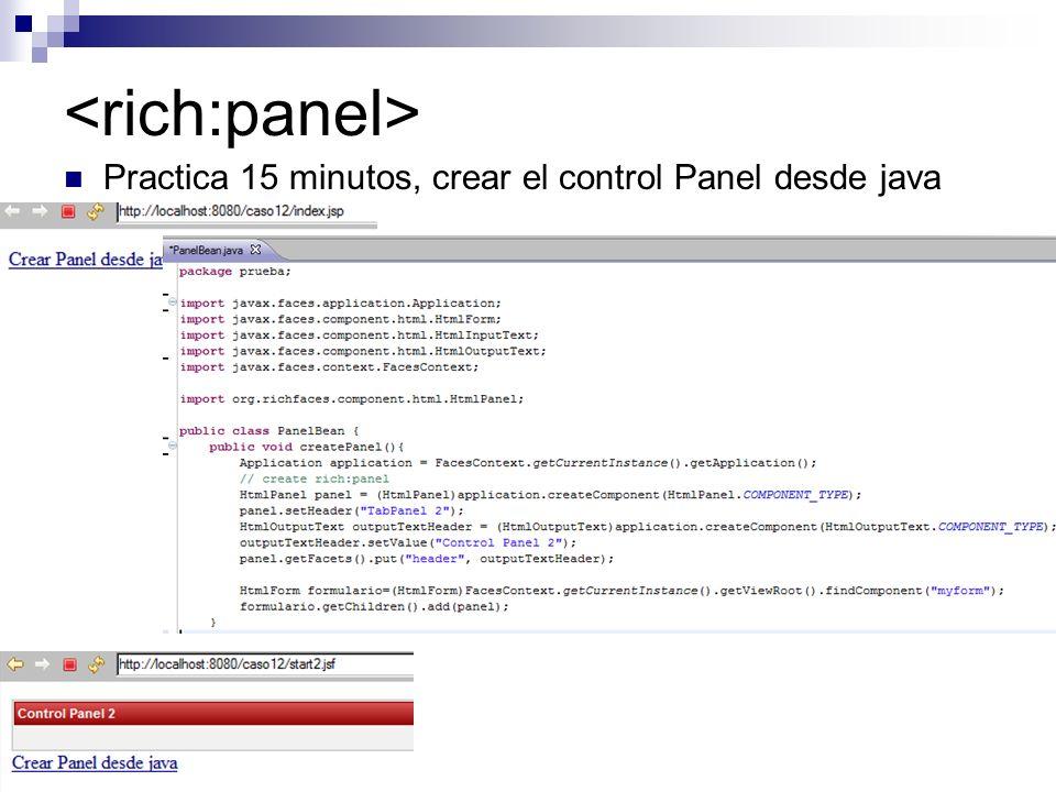 Practica 15 minutos, crear el control Panel desde java