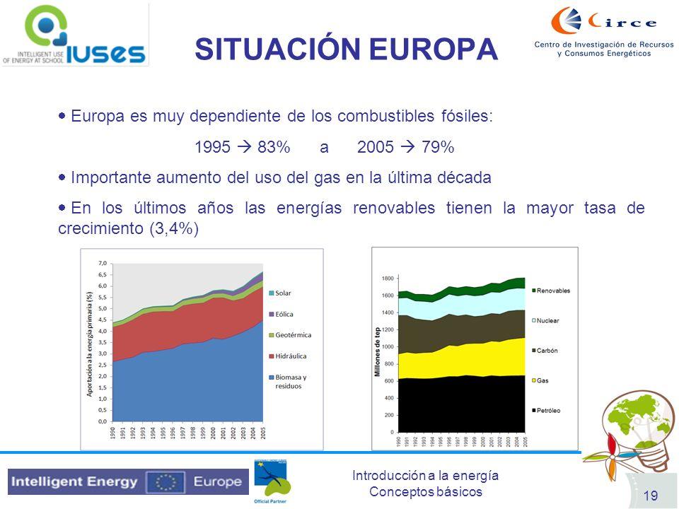 Introducción a la energía Conceptos básicos 19 SITUACIÓN EUROPA Europa es muy dependiente de los combustibles fósiles: 1995 83% a 2005 79% Importante