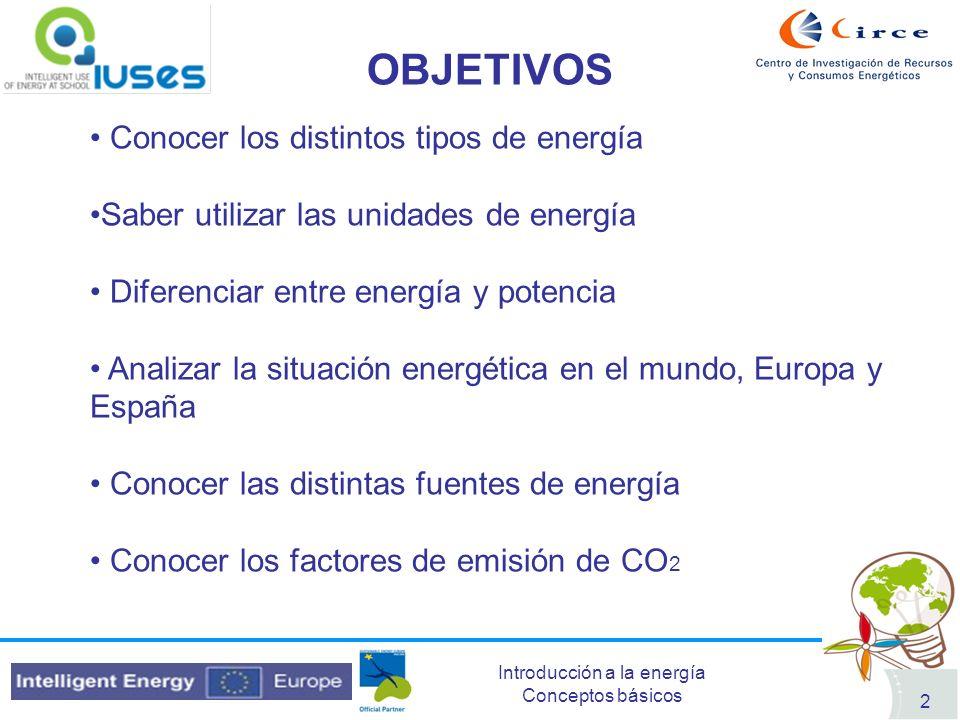 Introducción a la energía Conceptos básicos 2 OBJETIVOS Conocer los distintos tipos de energía Saber utilizar las unidades de energía Diferenciar entr
