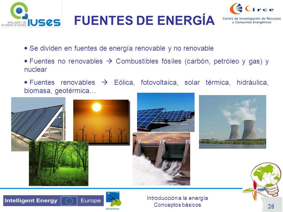 Introducción a la energía Conceptos básicos 28 FUENTES DE ENERGÍA Se dividen en fuentes de energía renovable y no renovable Fuentes no renovables Comb