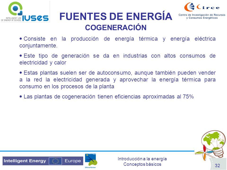 Introducción a la energía Conceptos básicos 32 FUENTES DE ENERGÍA COGENERACIÓN Consiste en la producción de energía térmica y energía eléctrica conjun