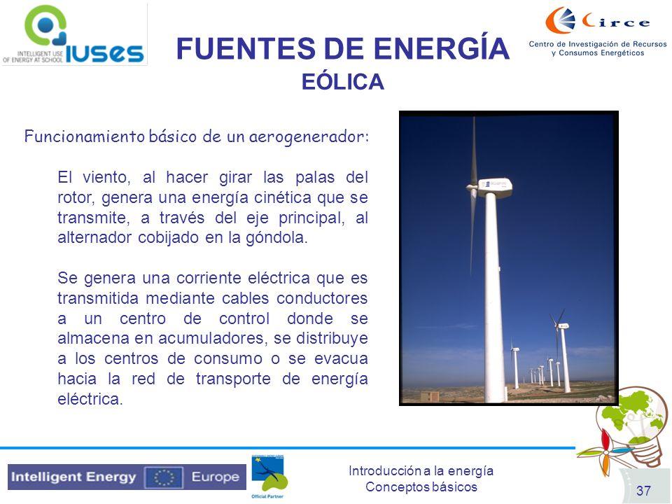Introducción a la energía Conceptos básicos 37 FUENTES DE ENERGÍA EÓLICA Funcionamiento básico de un aerogenerador: El viento, al hacer girar las pala