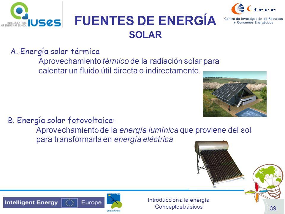 Introducción a la energía Conceptos básicos 39 FUENTES DE ENERGÍA SOLAR B. Energía solar fotovoltaica: Aprovechamiento de la energía lumínica que prov