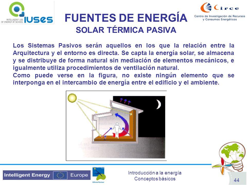 Introducción a la energía Conceptos básicos 44 FUENTES DE ENERGÍA SOLAR TÉRMICA PASIVA Los Sistemas Pasivos serán aquellos en los que la relación entr