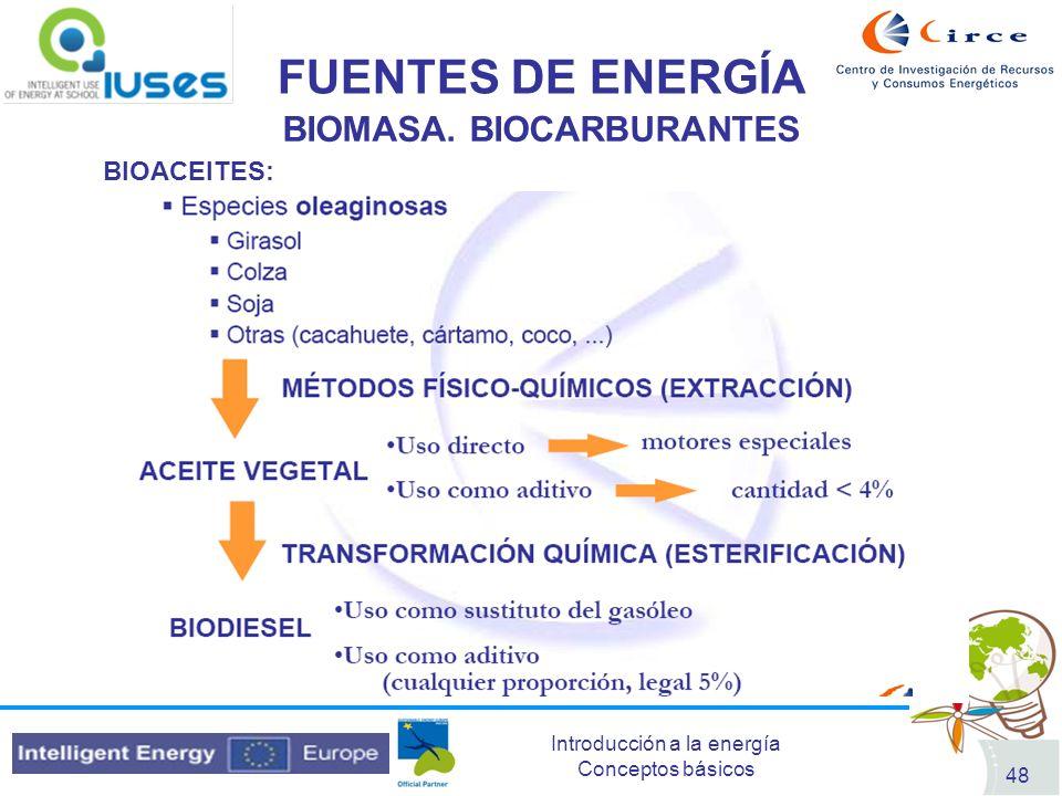 Introducción a la energía Conceptos básicos 48 FUENTES DE ENERGÍA BIOMASA. BIOCARBURANTES BIOACEITES:
