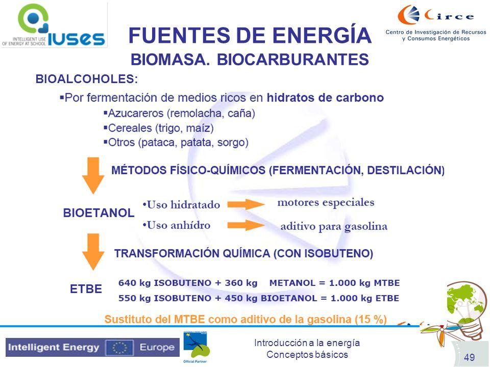 Introducción a la energía Conceptos básicos 49 FUENTES DE ENERGÍA BIOMASA. BIOCARBURANTES BIOALCOHOLES: