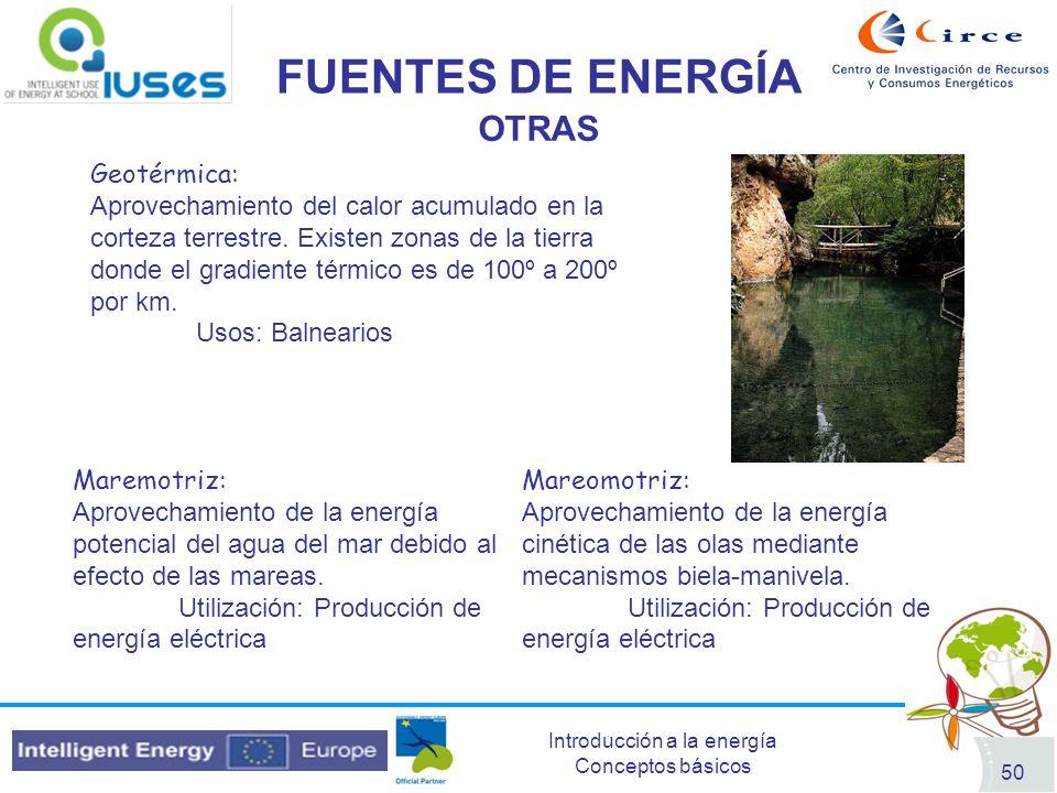 Introducción a la energía Conceptos básicos 50 FUENTES DE ENERGÍA OTRAS Geotérmica: Aprovechamiento del calor acumulado en la corteza terrestre. Exist