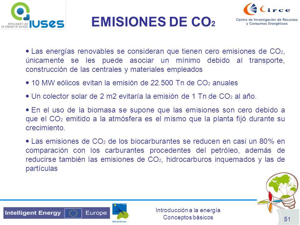 Introducción a la energía Conceptos básicos 51 EMISIONES DE CO 2 Las energías renovables se consideran que tienen cero emisiones de CO 2, únicamente s