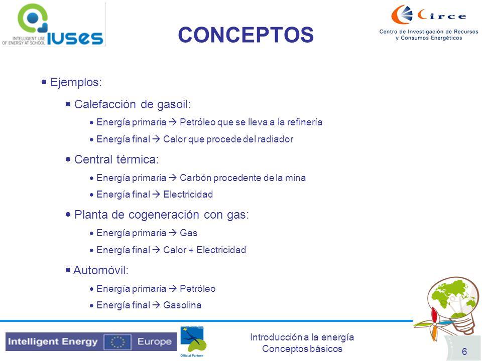 Introducción a la energía Conceptos básicos 6 CONCEPTOS Ejemplos: Calefacción de gasoil: Energía primaria Petróleo que se lleva a la refinería Energía