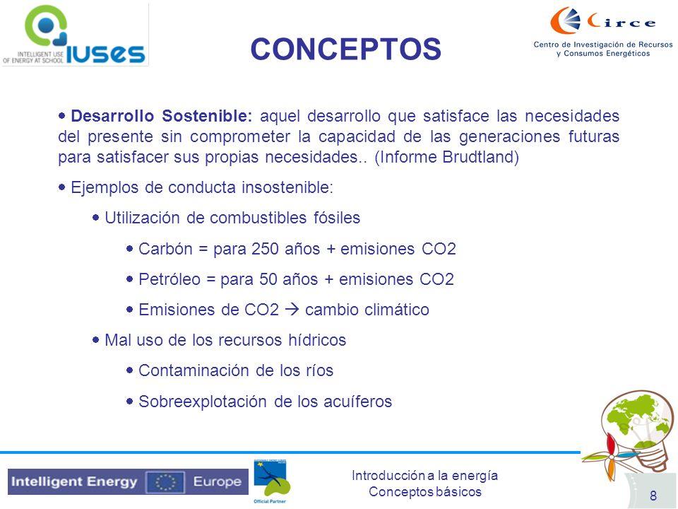 Introducción a la energía Conceptos básicos 8 CONCEPTOS Desarrollo Sostenible: aquel desarrollo que satisface las necesidades del presente sin comprom