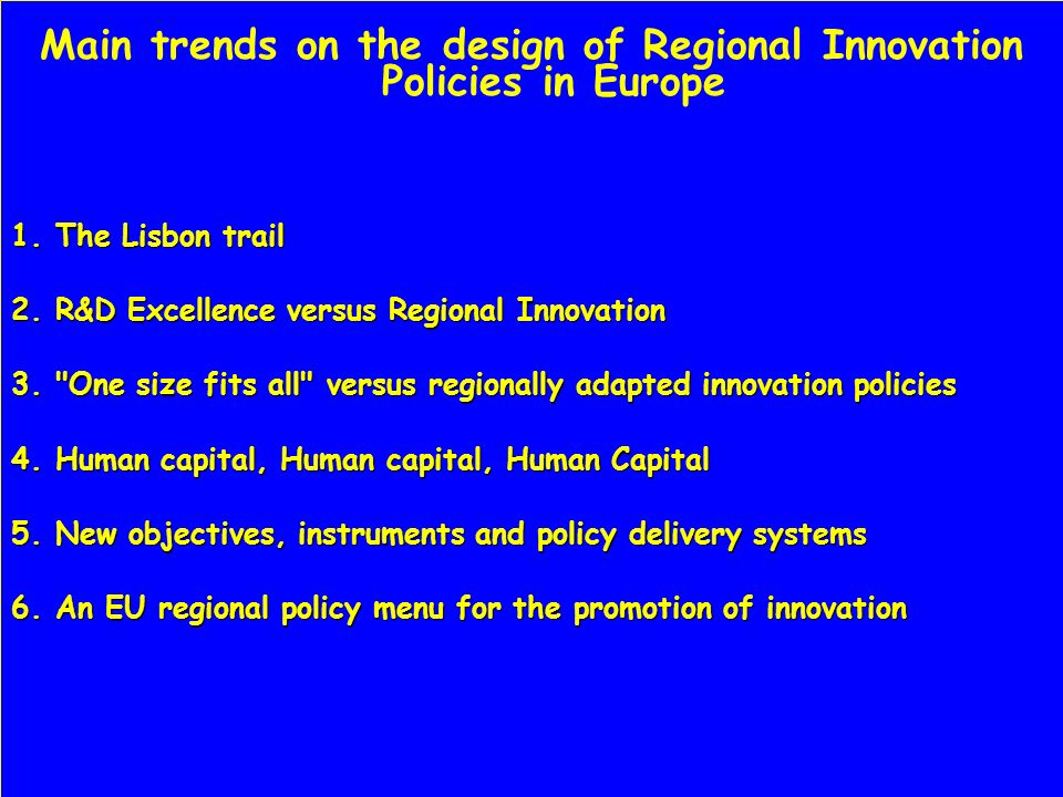 One size fits all versus regionally adapted innovation policies: sectoral specialization, size and isolation matter Traditional sectors (e.g.