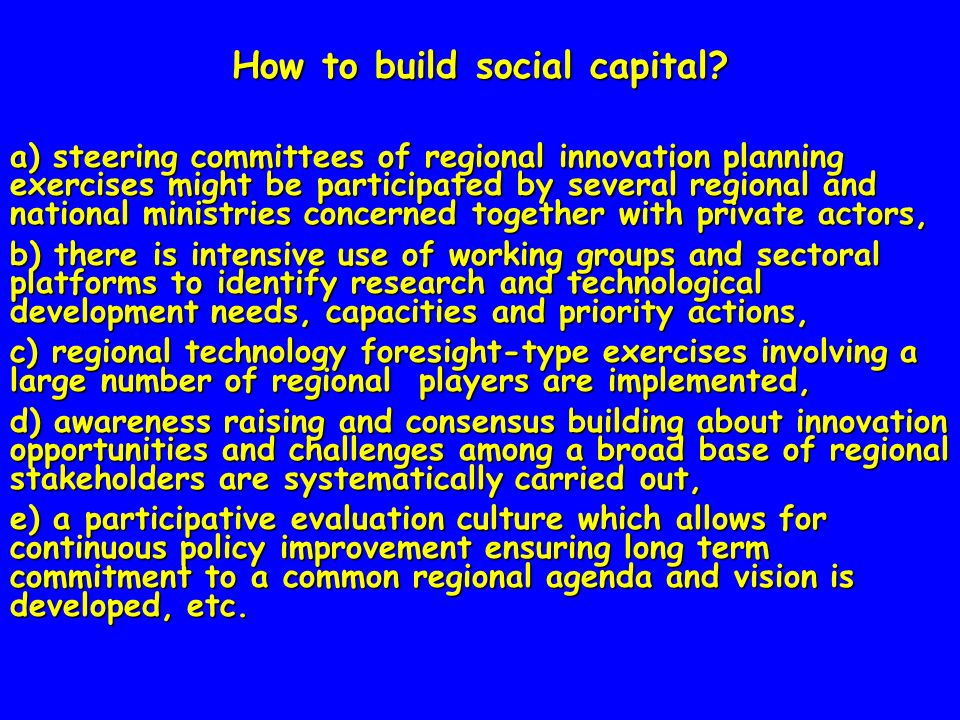 How to build social capital.