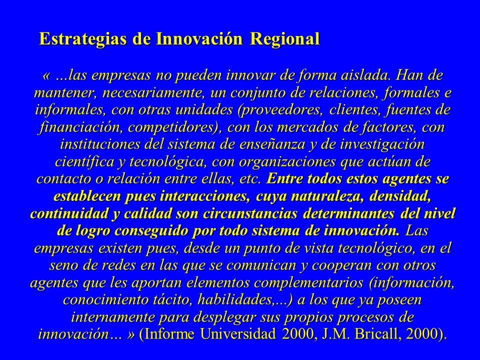 Estrategias de Innovación Regional « …las empresas no pueden innovar de forma aislada.