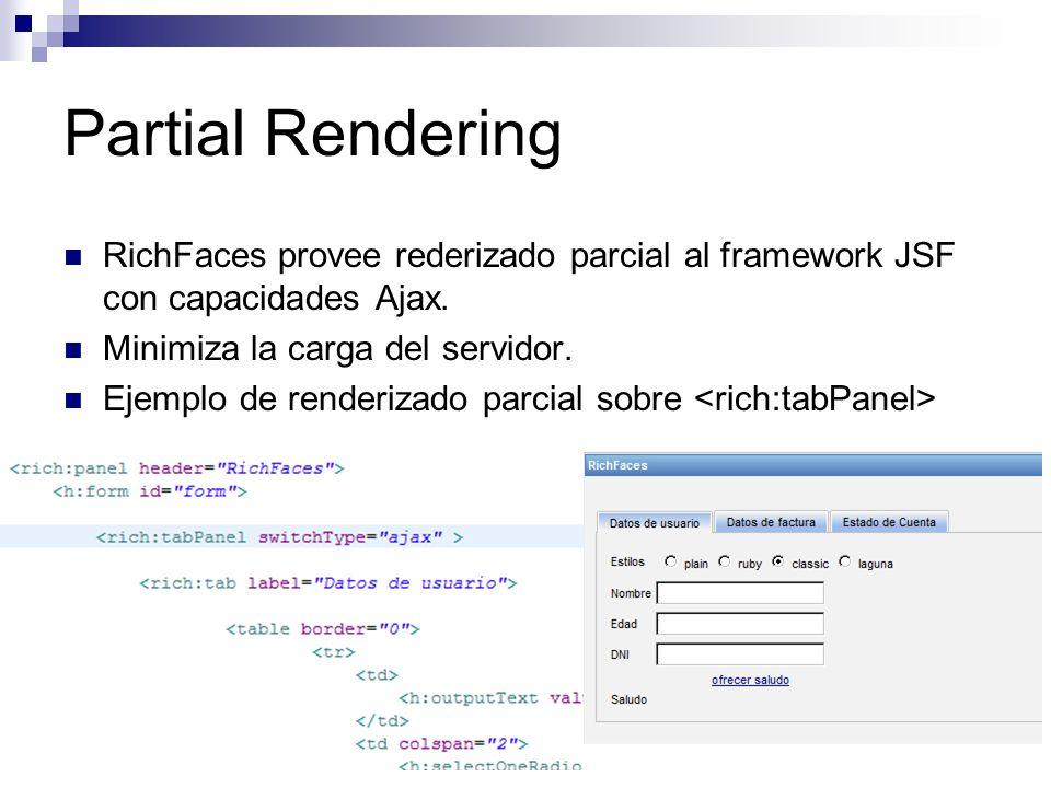 Partial Rendering RichFaces provee rederizado parcial al framework JSF con capacidades Ajax.