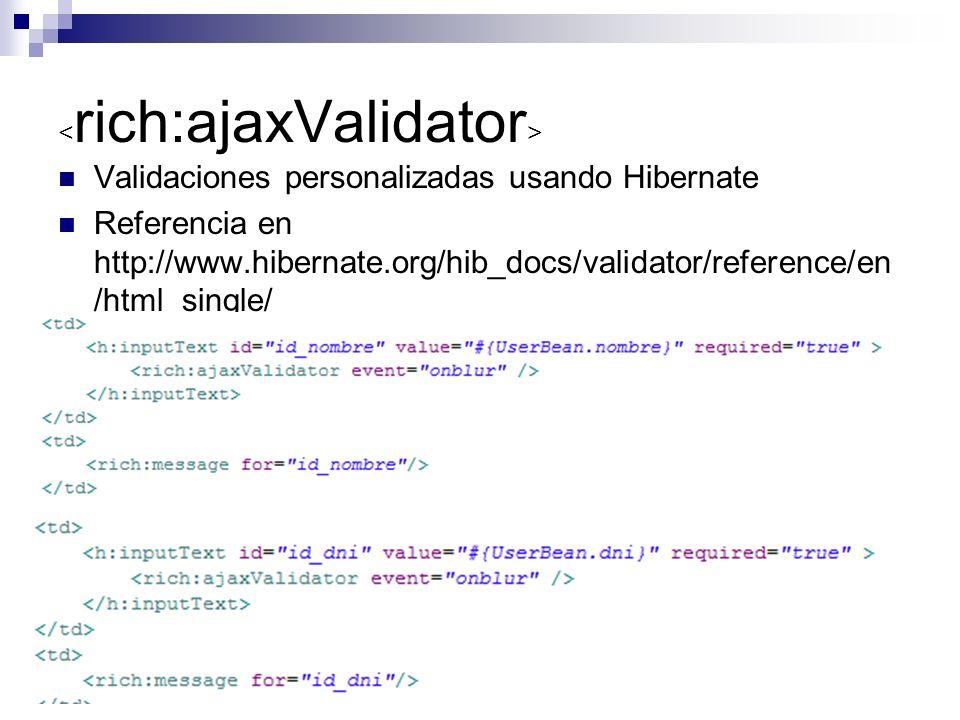 Validaciones personalizadas usando Hibernate Referencia en http://www.hibernate.org/hib_docs/validator/reference/en /html_single/