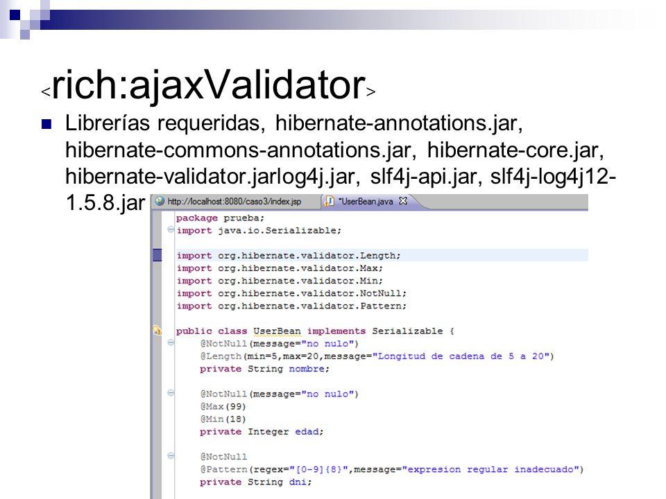Librerías requeridas, hibernate-annotations.jar, hibernate-commons-annotations.jar, hibernate-core.jar, hibernate-validator.jarlog4j.jar, slf4j-api.jar, slf4j-log4j12- 1.5.8.jar